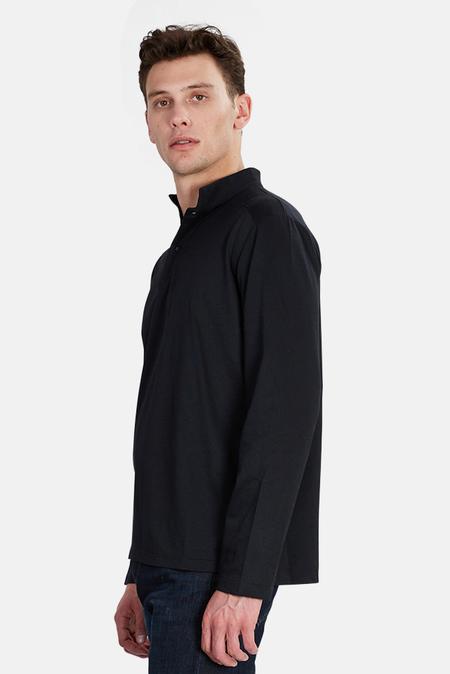 Blue&Cream LS Military Pop Collar Polo Top - Black