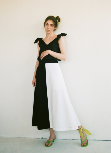 Eliza Faulkner Half & Half Denim Skirt - Black/White
