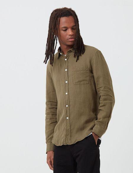 Portuguese Flannel Linen Shirt - Olive Green