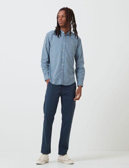 Portuguese Flannel Mao Grandad Collar Shirt - Light Blue
