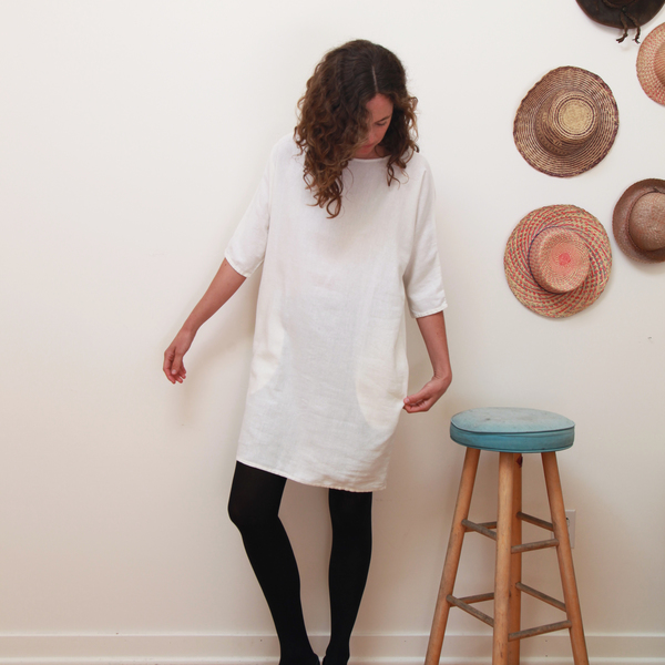 Me & Arrow Dolman 3/4 Sleeve Dress Off White