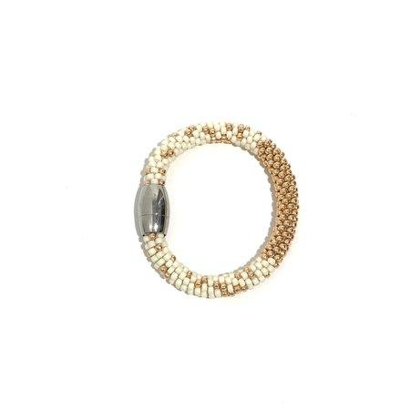 Jill Cribbin Stardust Bracelet - Cream/Rose Gold