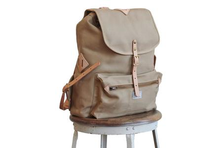 Artifact Twill & Leather Backpack - Tan