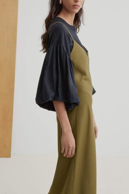 Kowtow Ada Long Slip Dress - Khaki
