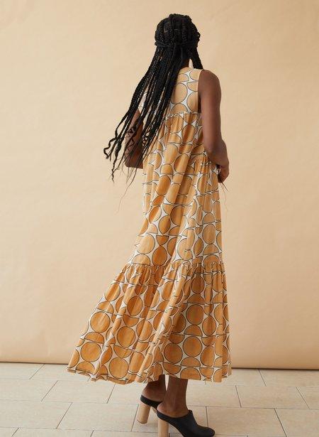 Seek Collective Stevie Dress with landforms print - camel