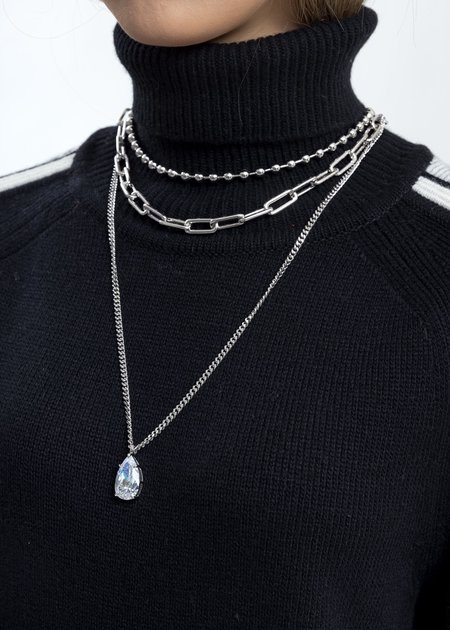 Cha Ching Rhinestone Water Drop Ball Link Necklace - Silver