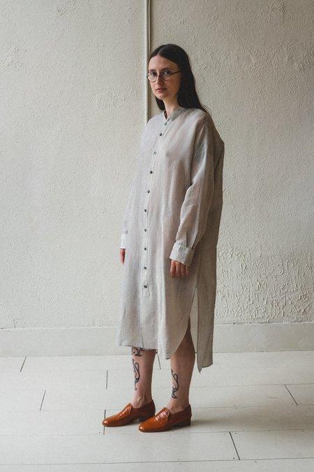 Factory Silk/Cotton Long Shirt Dress - Stripe