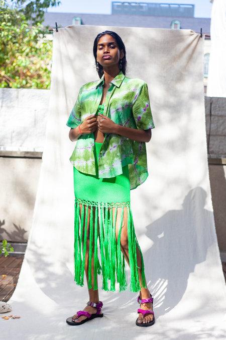 Abacaxi Linen Shirt - Verde Loro