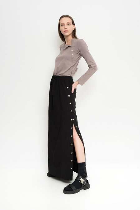 Uma Raquel Davidowicz Long Linen Button-Down Skirt Gibraltar