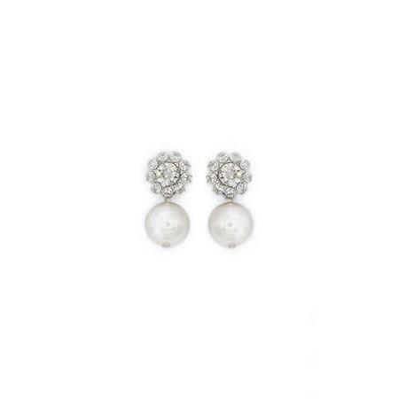 Joomi Lim Small 2 Part Crystal Flower & Pearl Earrings