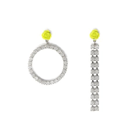 Joomi Lim Asymmetrical Circle Crystal & Crystal Chain Earrings W/ Resin Roses