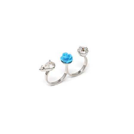 Joomi Lim Double Finger Ring W/ Crystal and Resin Rose