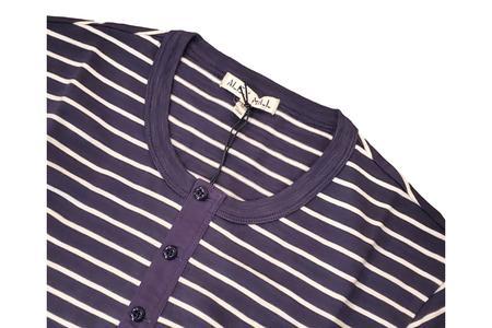 Alex Mill Striped Slub Henley - Navy/White