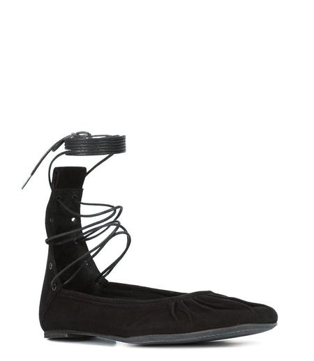 Ann Demeulemeester Suede Ballerina Flats with Ankle Tie - Black