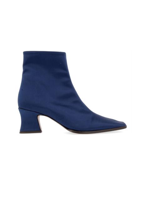 BY FAR Naomi Italian Silk Boots - Navy