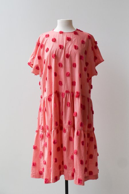 House Dress Organic Cotton Layer Cake Tiered Dress - Rhubarb