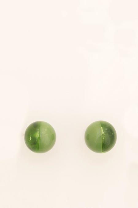 Keane Glass Two Tone Studs - Green