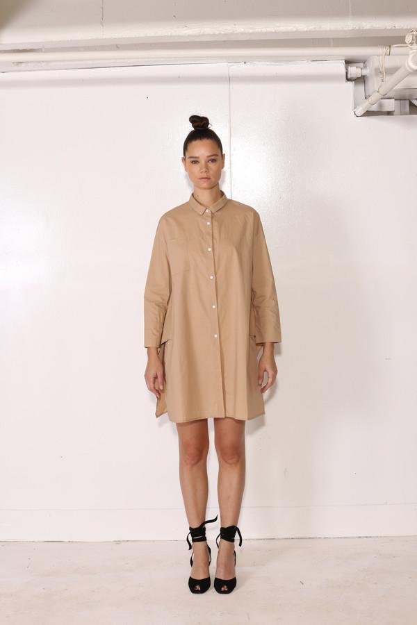 Intentionally Blank ZINNIA SHIRT DRESS Khaki