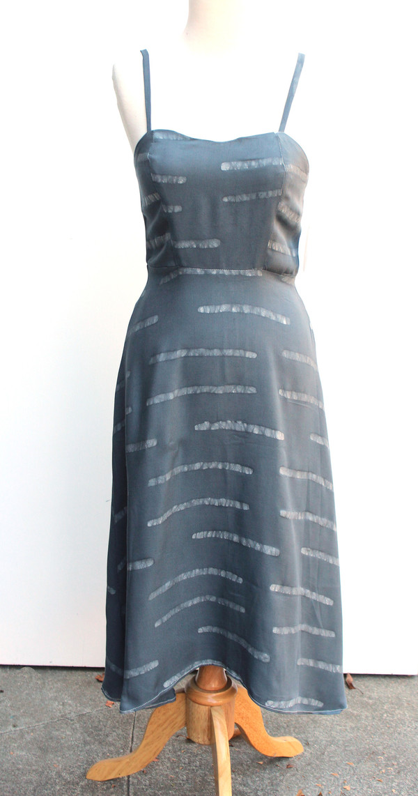 Della Grey Striped Ballerina Dress