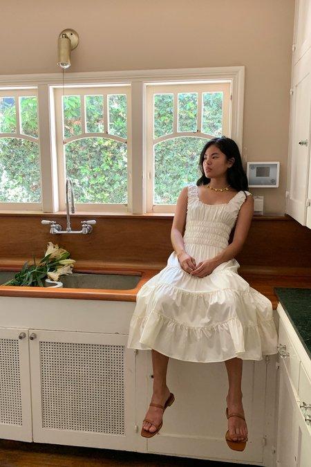 Lisa Says Gah Agatha  Cotton Satin Midi Dress - Ivory