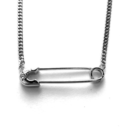 Godfrey and Rose Small Safety Pin Necklace - Oxi Sterling/White Sapphire