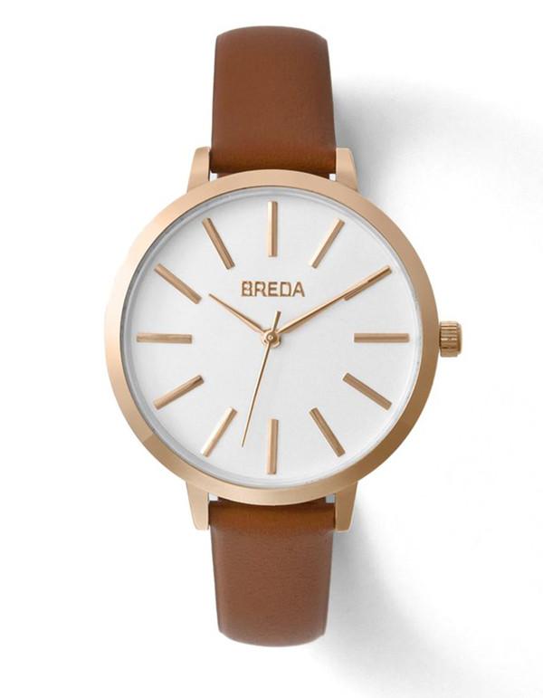 Breda Joule Watch Rose Gold Brown