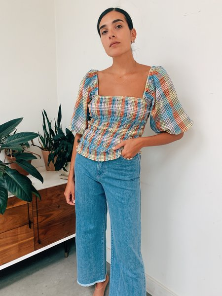 Ganni Seersucker Check Smock Top - Multi