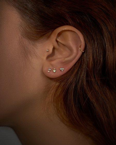 Pamela Love Bar Dot Stud - 14k yellow gold/opal/white diamond
