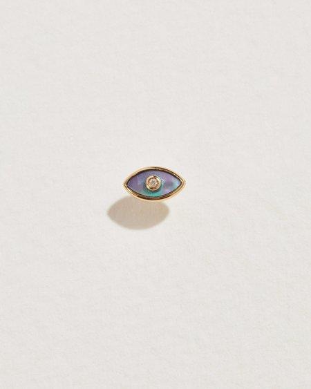 Pamela Love Piercing Eye Diamond Stud - 14k yellow gold/abalone/white diamond