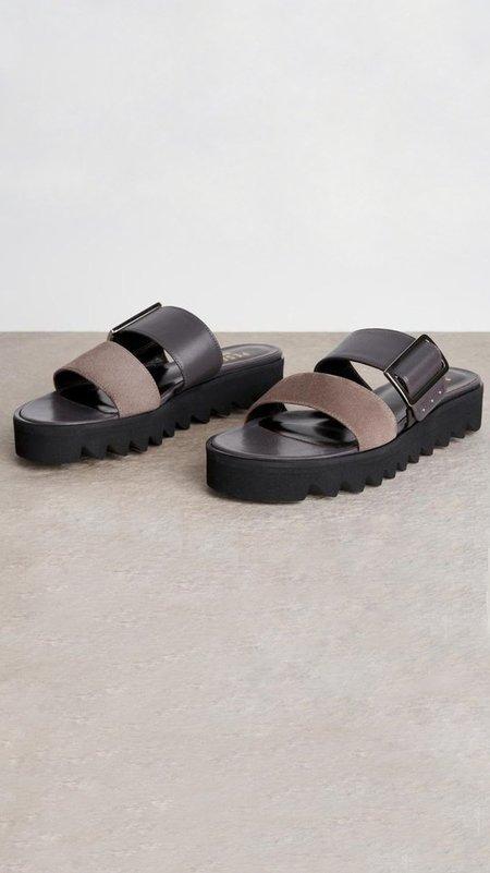 Peserico Leather Suede Platform Slide