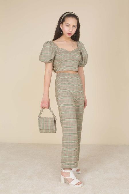 Samantha Pleet Poem Blouse - Tan/Green Plaid