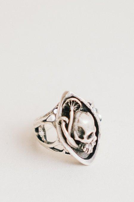 Theeth Skull and Mushroom Navette Ring