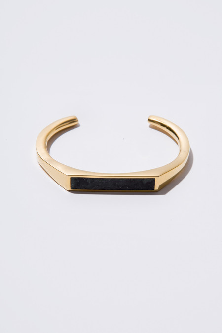 Edge of Ember Angled Cuff - Gold & Black Jade