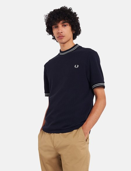 Fred Perry Reissue Crew Neck Pique T-Shirt - Navy Blue