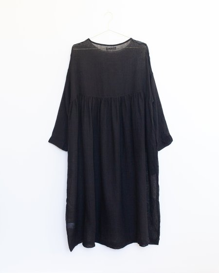 ICHI ANTIQUITES Linen Gauze Dress - Black