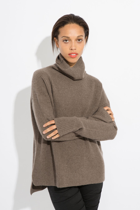 SCHAI Cozy Cashmere Funnel Neck Sweater