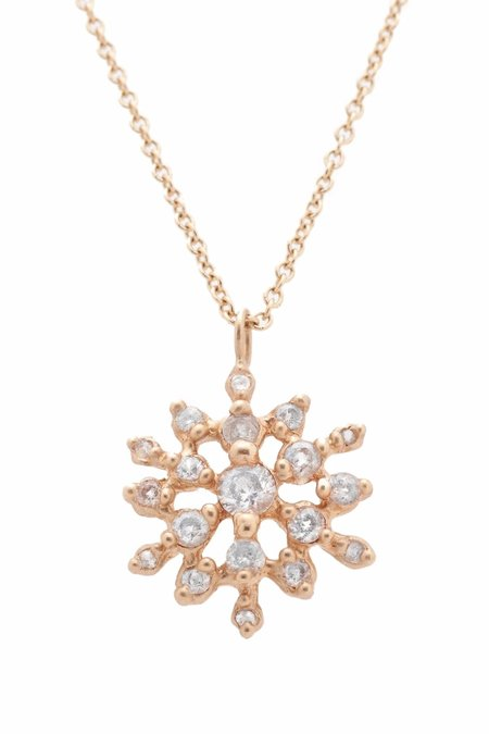 Valley Rose 14K Gold Cosmos Necklace with White Sapphire