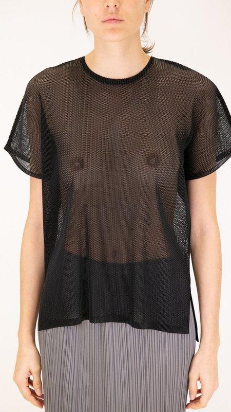 Issey Miyake Pleats Please Tatami Short Sleeve Top - Black