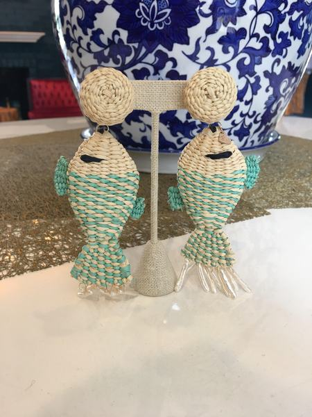 Mercedes Salazar Fish Earrings - Mint