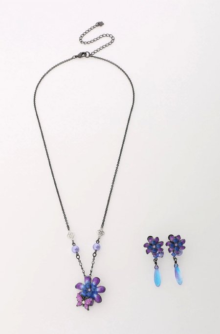 Vendome Enamel Flower and Pearl Earrings with Necklace Set