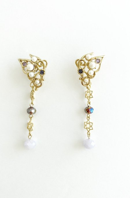 Vendome Whimsical Butterfly Drop Earrings - Gold