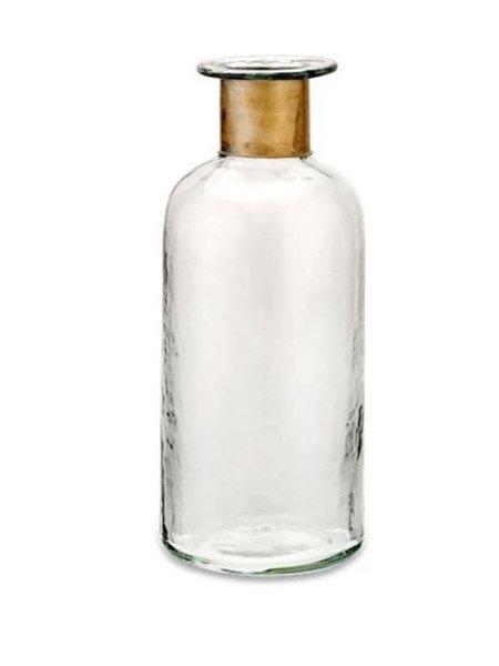 Nkuku Chara Large Hammered Bottle - Antique Brass