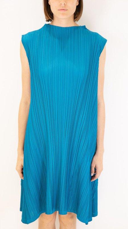 Issey Miyake Pleats Please Sleeveless Mock Neck Dress - Turqouise