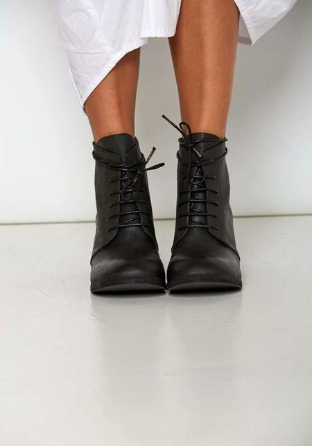 Nutsa Modebadze Leather Lace Up Booties with Hand Carved Heel - Black