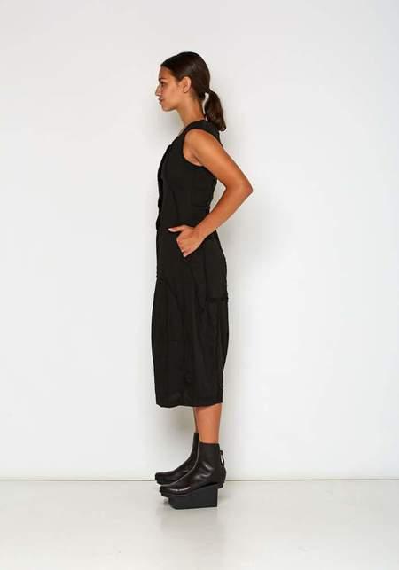 Paneled Linen Blend Sleeveless Dress - Black