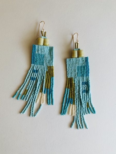 Lu in the Frey Square Fringe Earrings