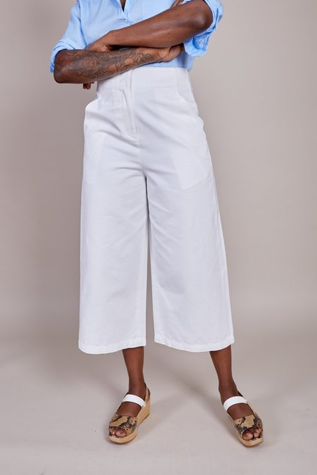 Tibi Twill Cropped Jean - White