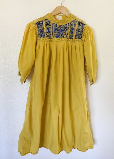 Vintage Mexican Dress - Acid Yellow