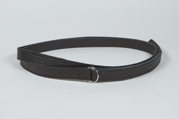 Clyde Copy of Double D Ring Belt in Black Calf Leather