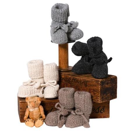 Kids Tane Organics Alpaca Sock Booties - Coal Grey